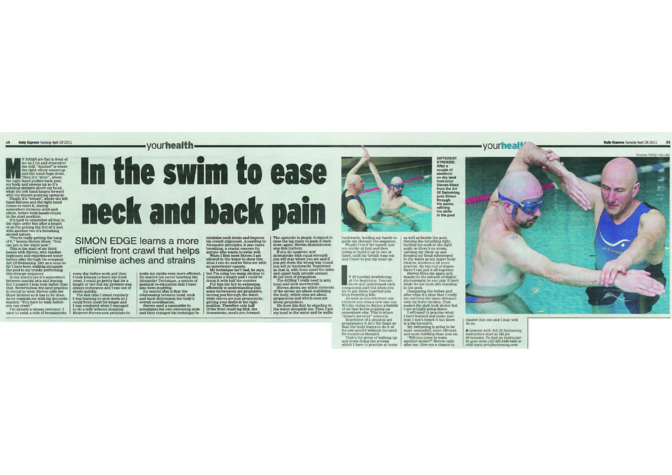 The Art Of swimming A4 paper Clipping